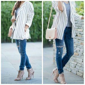 Zara || Striped Belted Blazer